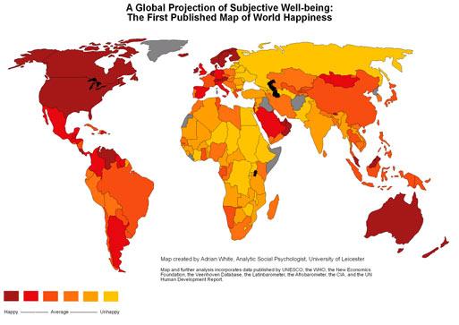 Индекс счастья, карта счастливого мира